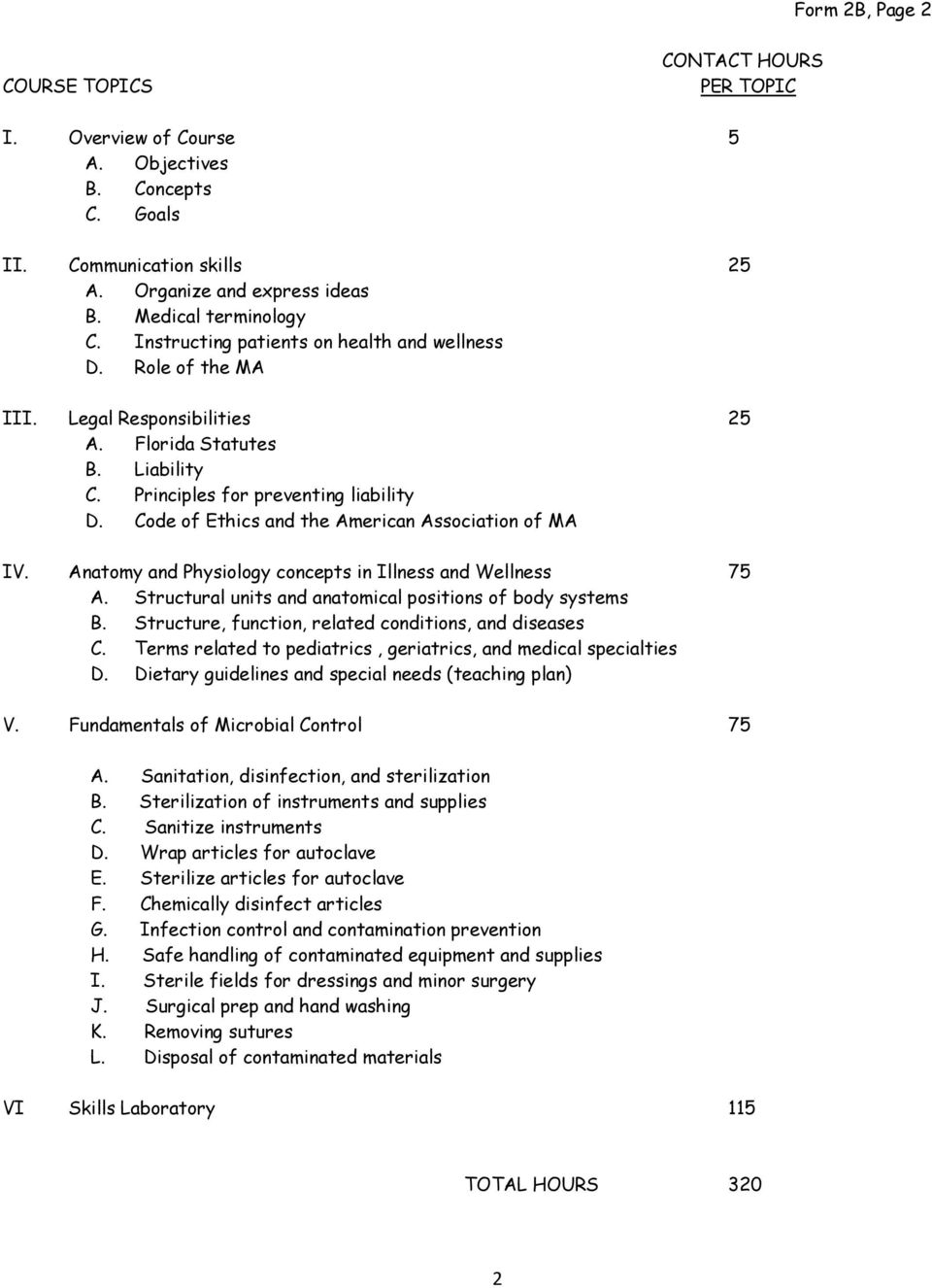 Code of Ethics and the American Association of MA IV. Anatomy and Physiology concepts in Illness and Wellness 75 A. Structural units and anatomical positions of body systems B.