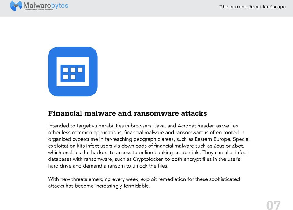 Special exploitation kits infect users via downloads of financial malware such as Zeus or Zbot, which enables the hackers to access to online banking credentials.