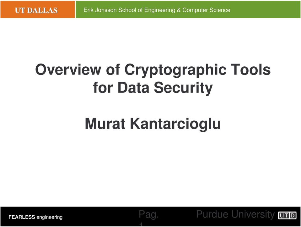 of Cryptographic Tools for Data