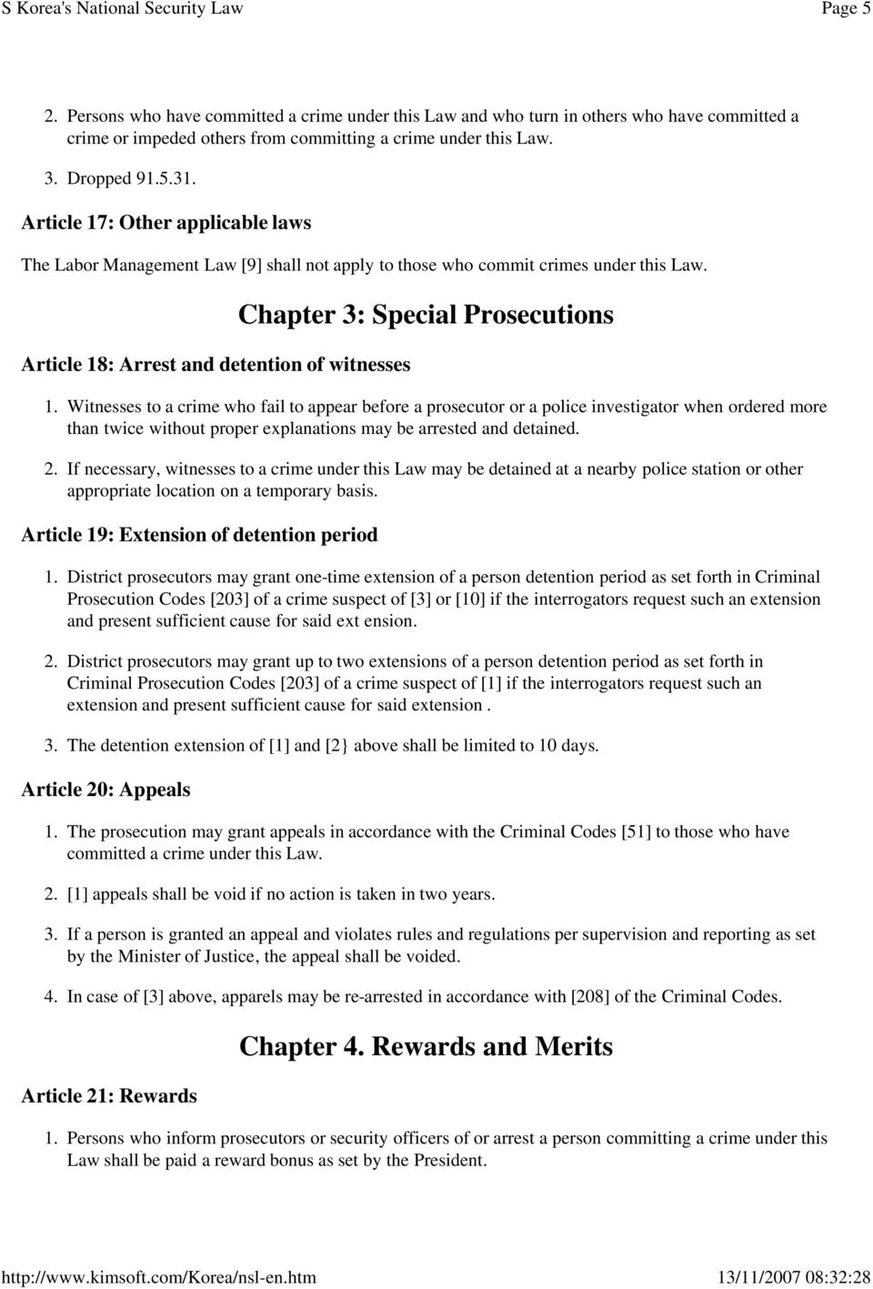 Article 18: Arrest and detention of witnesses Chapter 3: Special Prosecutions 1.