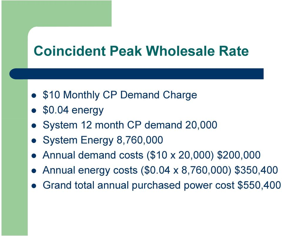 Annual demand costs ($10 x 20,000) $200,000 Annual energy costs ($0.