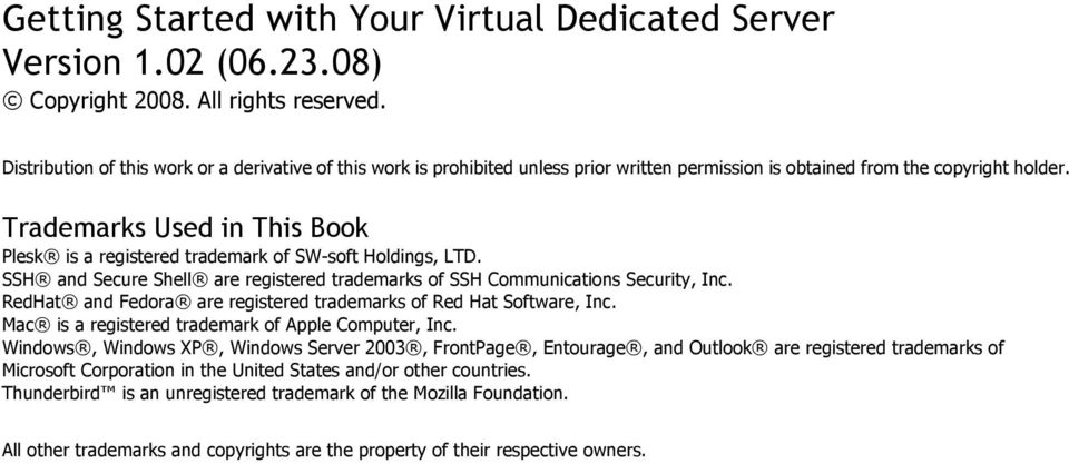 Trademarks Used in This Book Plesk is a registered trademark of SW soft Holdings, LTD. SSH and Secure Shell are registered trademarks of SSH Communications Security, Inc.