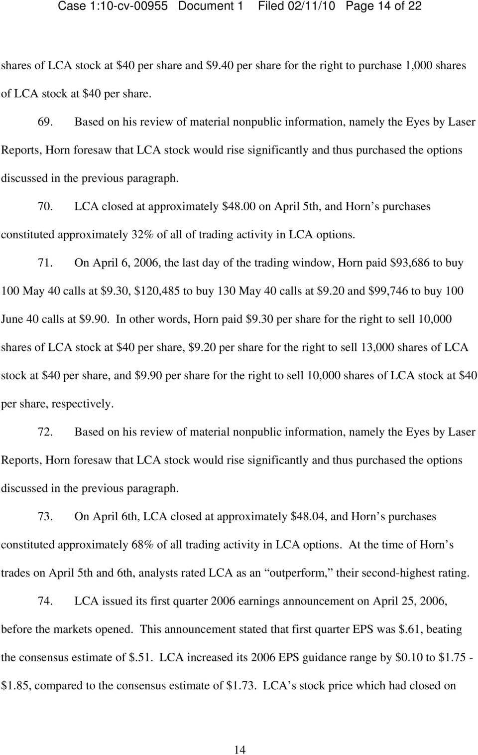 paragraph. 70. LCA closed at approximately $48.00 on April 5th, and Horn s purchases constituted approximately 32% of all of trading activity in LCA options. 71.