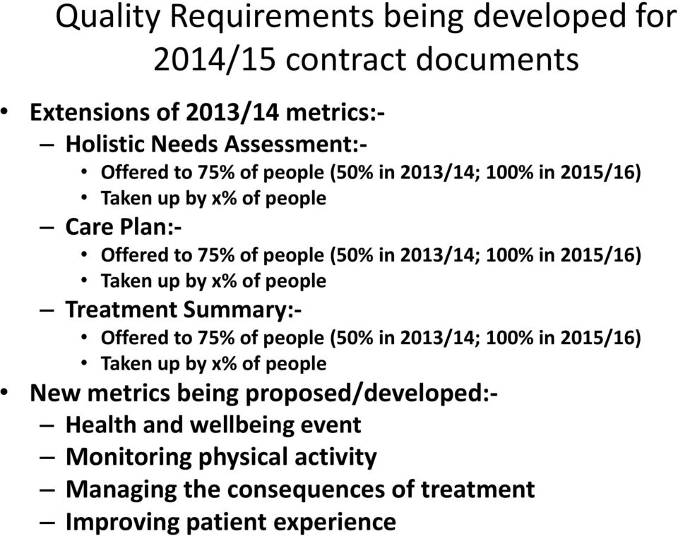 Taken up by x% of people Treatment Summary:- Offered to 75% of people (50% in 2013/14; 100% in 2015/16) Taken up by x% of people New metrics