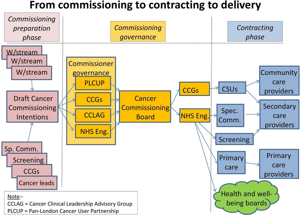 Note:- CCLAG = Cancer Clinical Leadership Advisory Group PLCUP = Pan-London Cancer User Partnership Cancer Commissioning Board CCGs NHS