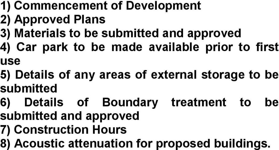 areas of external storage to be submitted 6) Details of Boundary treatment to be