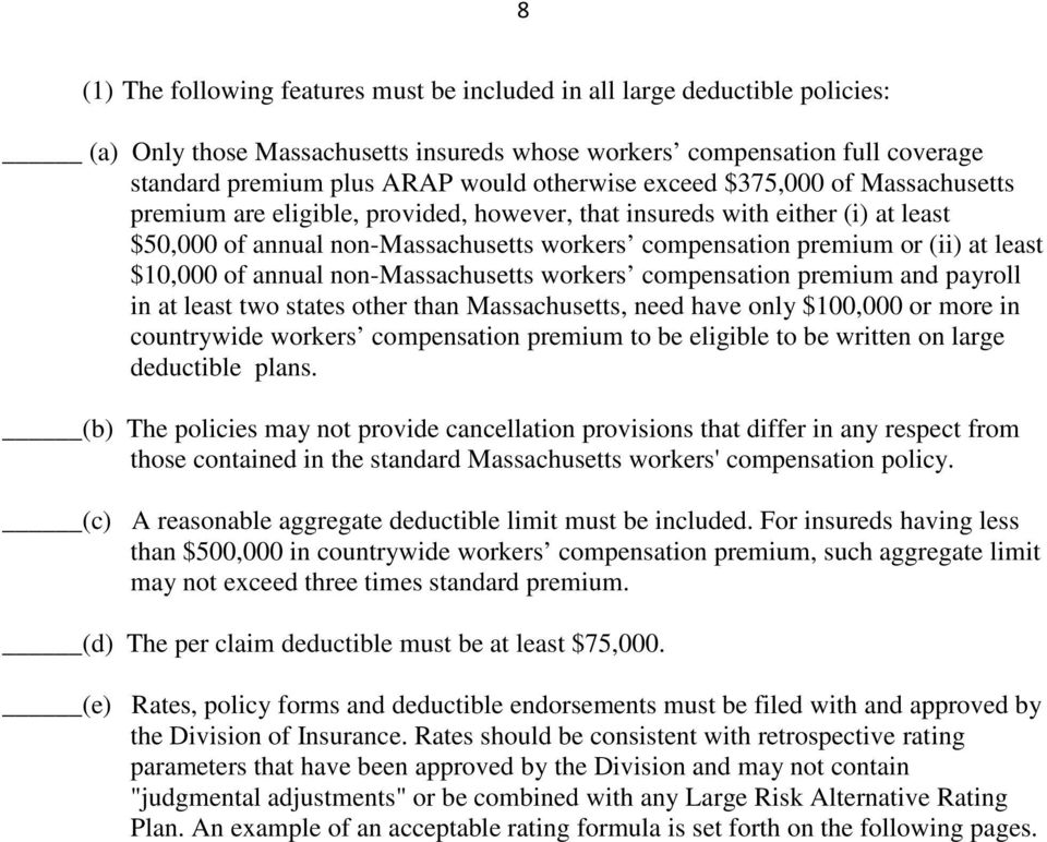 least $10,000 of annual non-massachusetts workers compensation premium and payroll in at least two states other than Massachusetts, need have only $100,000 or more in countrywide workers compensation
