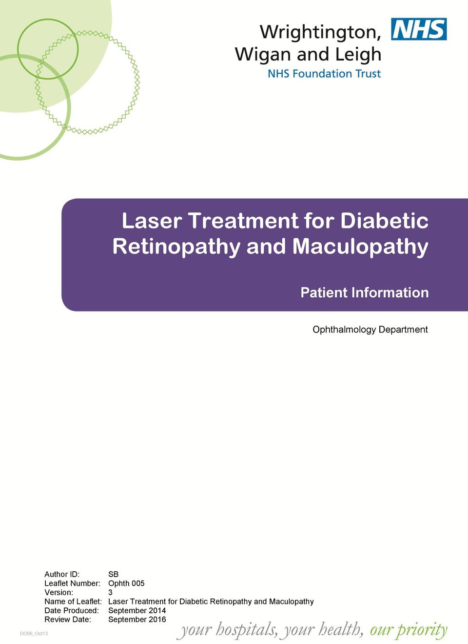Leaflet: Laser Treatment for Diabetic Retinopathy and Maculopathy Date Produced: