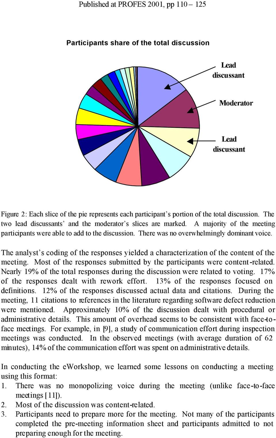 The analyst s coding of the responses yielded a characterization of the content of the meeting. Most of the responses submitted by the participants were content-related.