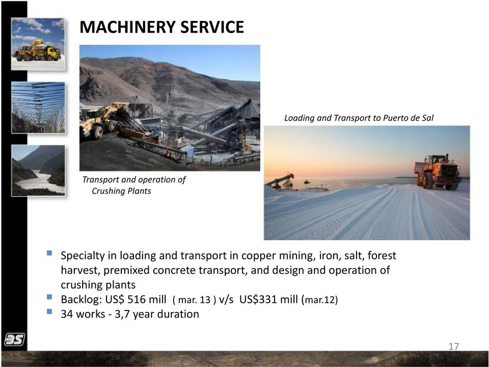 forest harvest, premixed concrete transport, and design and operation of crushing