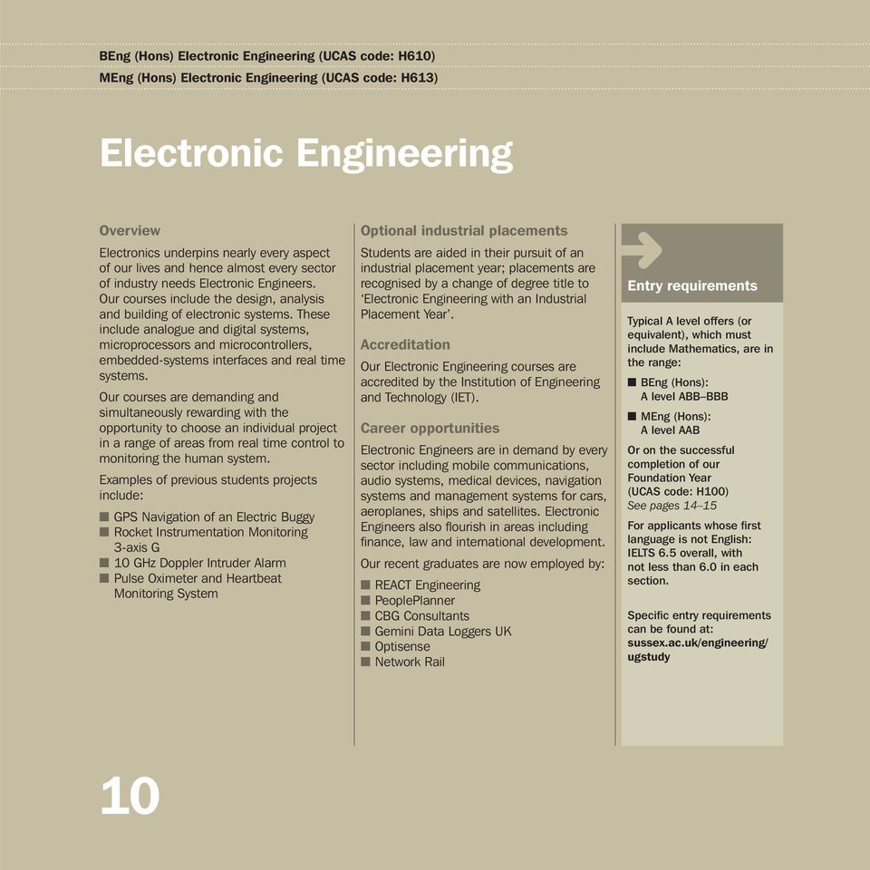 University Of Sussex Engineering And Design Our Degrees Electronic Project For Technical Study Digital These Include Analogue Systems Microprocessors Microcontrollers Embedded Interfaces 11 Course