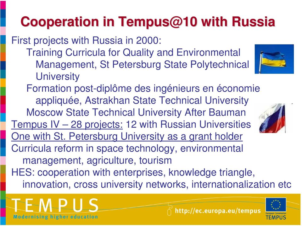 After Bauman Tempus IV 28 projects: 12 with Russian Universities One with St.