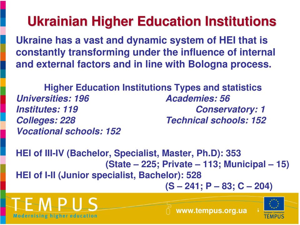 Higher Education Institutions Types and statistics Universities: 196 Academies: 56 Institutes: 119 Conservatory: 1 Colleges: 228 Technical