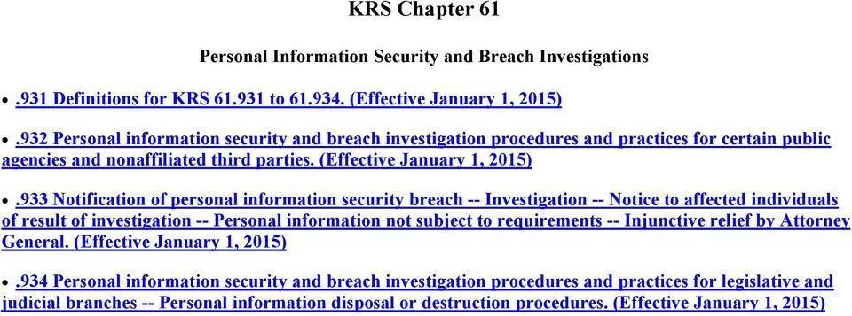 933 Notification of personal information security breach -- Investigation -- Notice to affected individuals of result of investigation -- Personal information not subject to requirements --