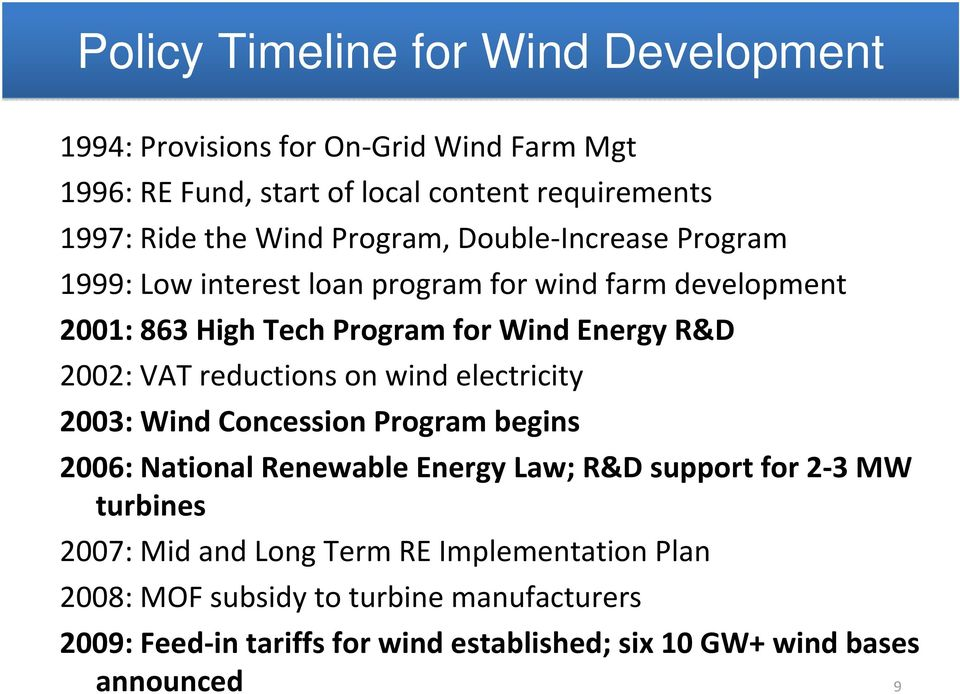 reductions on wind electricity 2003: Wind Concession Program begins 2006: National Renewable Energy Law; R&D support for 2 3 MW turbines 2007: Mid and