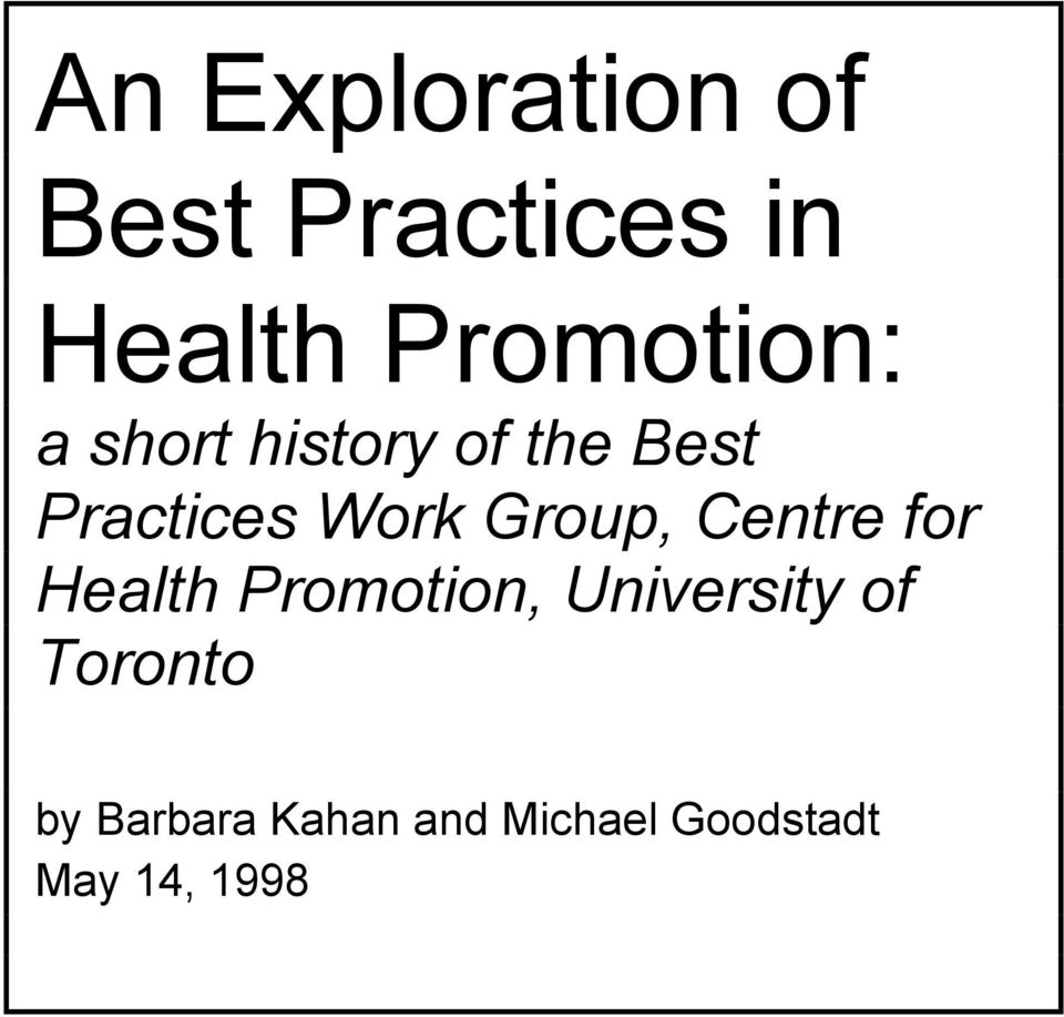 Work Group, Centre for Health Promotion, University