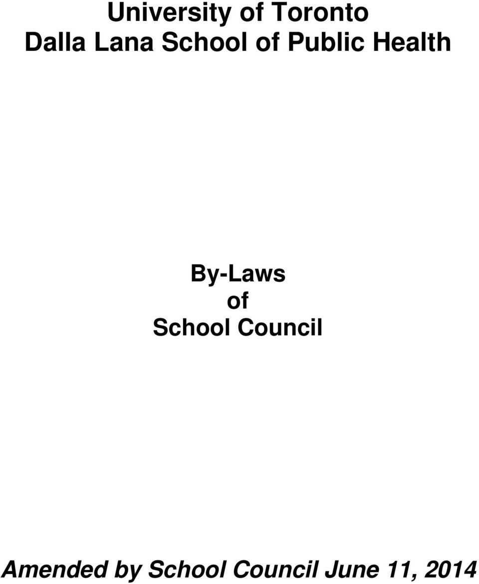 By-Laws of School Council