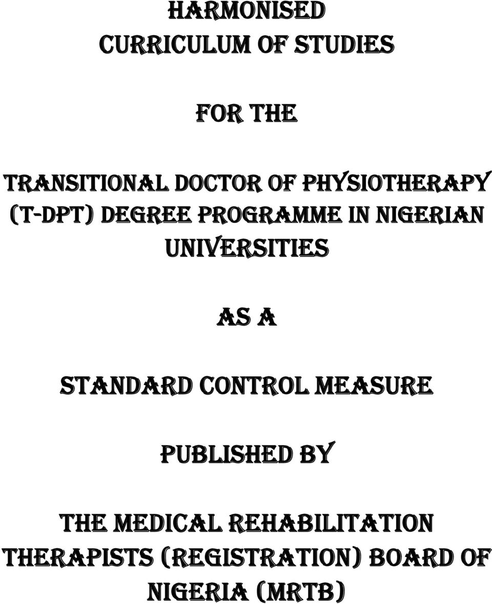 UNIVERSITIES AS A STANDARD CONTROL MEASURE PUBLISHED BY THE