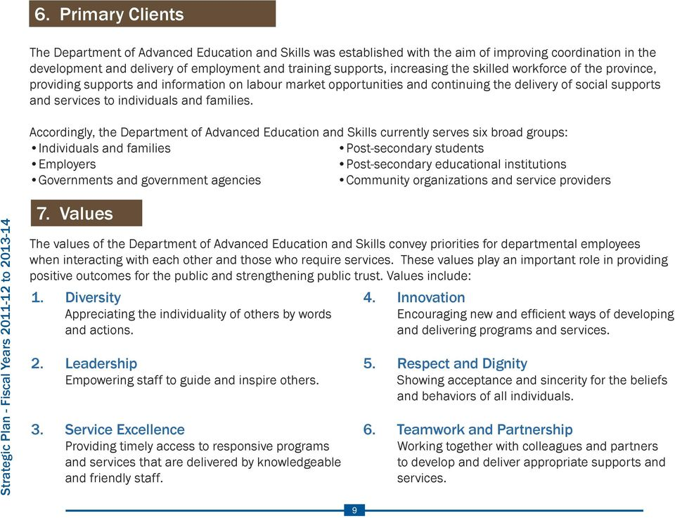 Accordingly, the Department of Advanced Education and Skills currently serves six broad groups: Individuals and families Post-secondary students Employers Post-secondary educational institutions