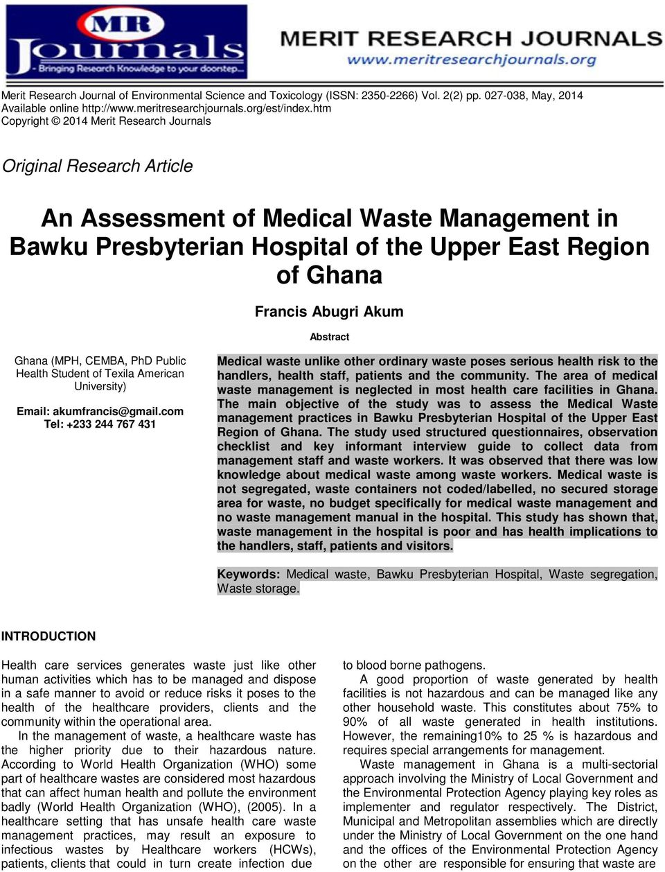 An Assessment of Medical Waste Management in Bawku