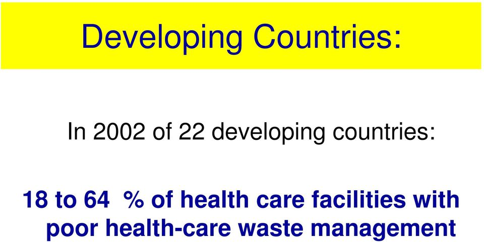 % of health care facilities with