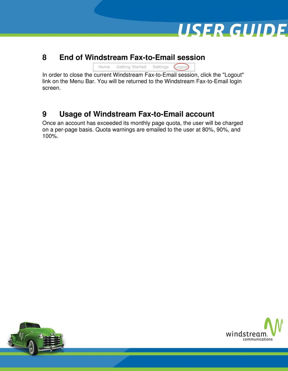 You will be returned to the Windstream Fax-to-Email login screen.