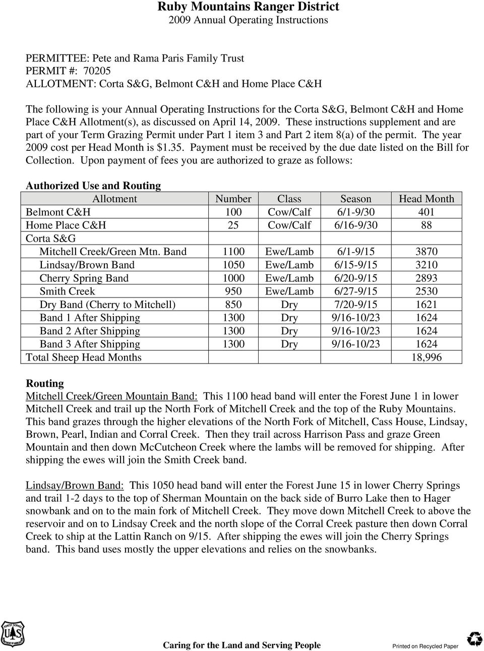 These instructions supplement and are part of your Term Grazing Permit under Part 1 item 3 and Part 2 item 8(a) of the permit. The year 2009 cost per Head Month is $1.35.