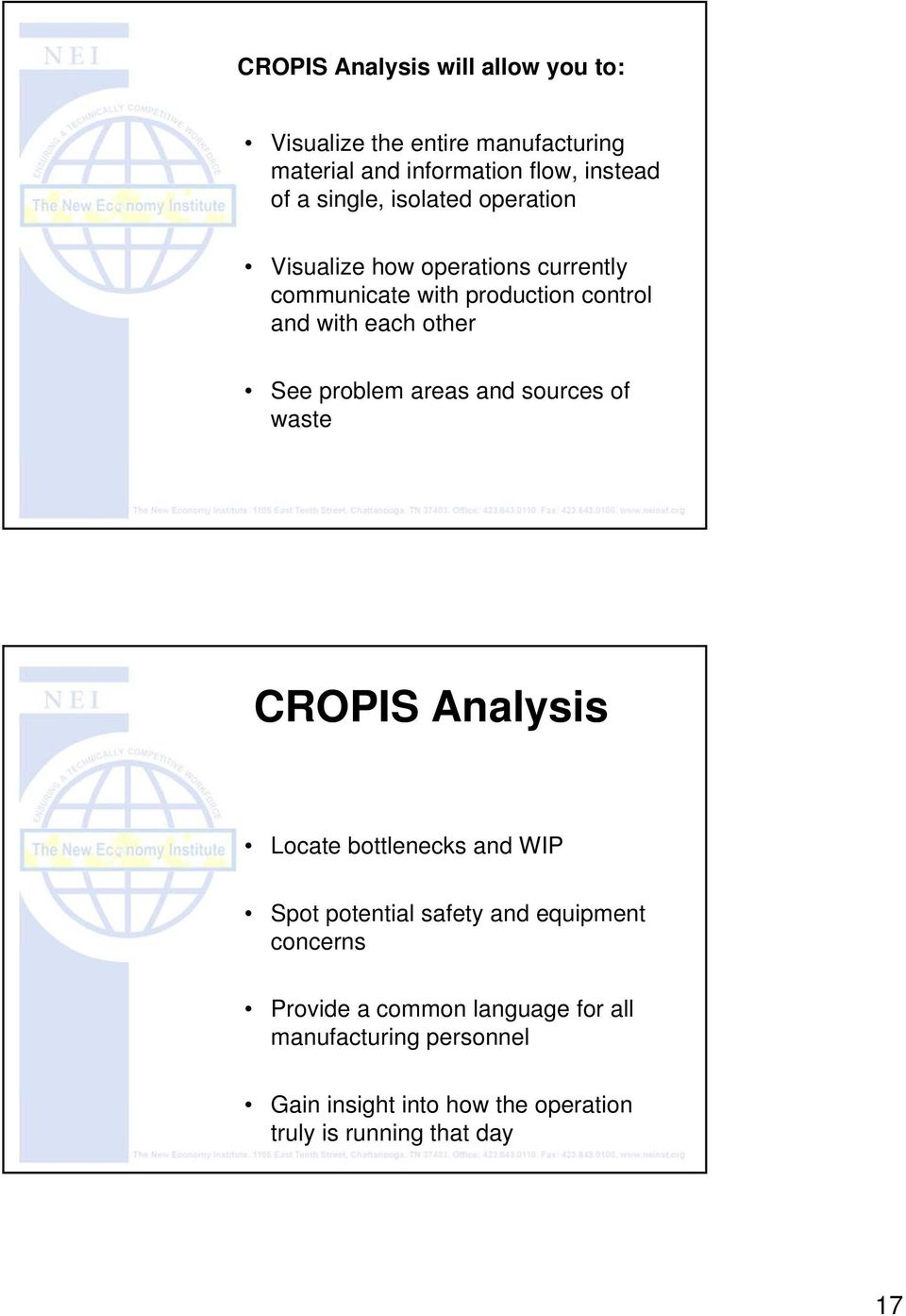 See problem areas and sources of waste CROPIS Analysis Locate bottlenecks and WIP Spot potential safety and equipment