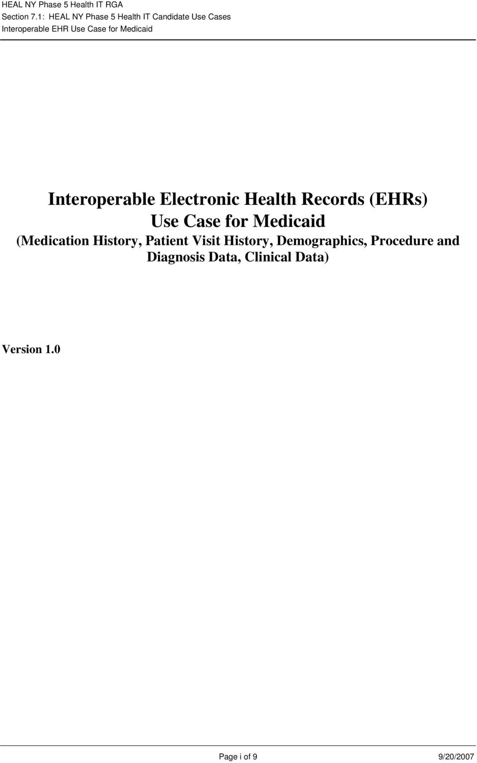 Medicaid Interoperable Electronic Health Records (EHRs) Use Case for Medicaid