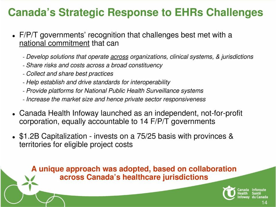 for National Public Health Surveillance systems - Increase the market size and hence private sector responsiveness Canada Health Infoway launched as an independent, not-for-profit corporation,