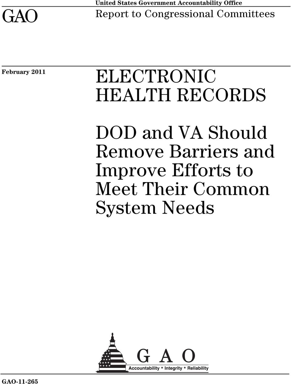 HEALTH RECORDS DOD and VA Should Remove