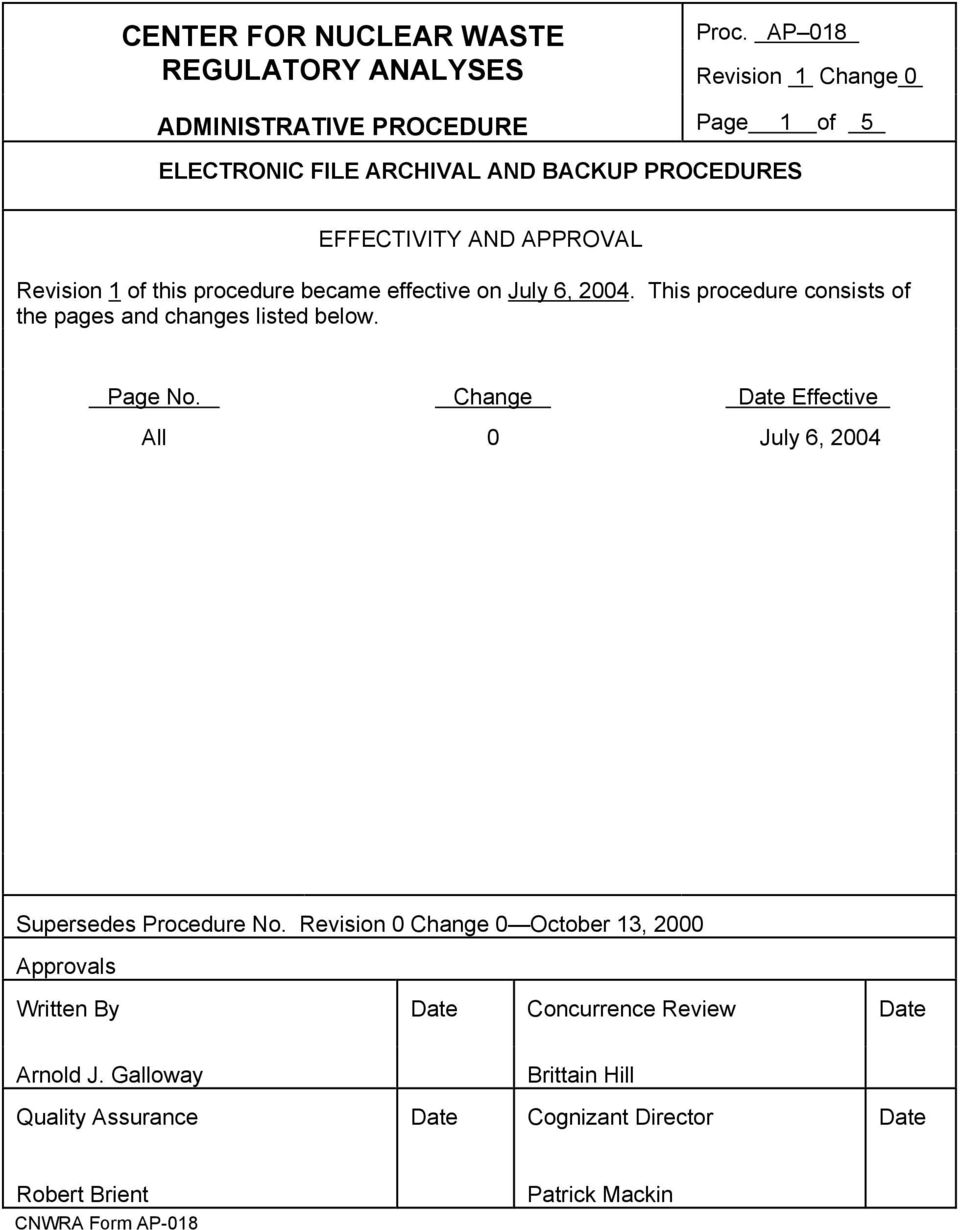 Change Date Effective All 0 July 6, 2004 Supersedes Procedure No.