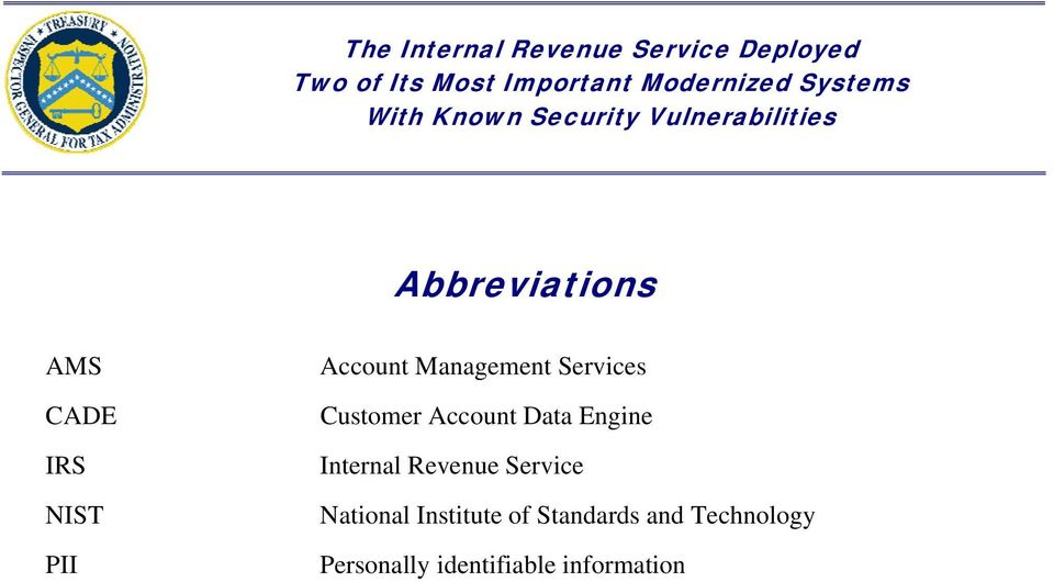 Internal Revenue Service National Institute of