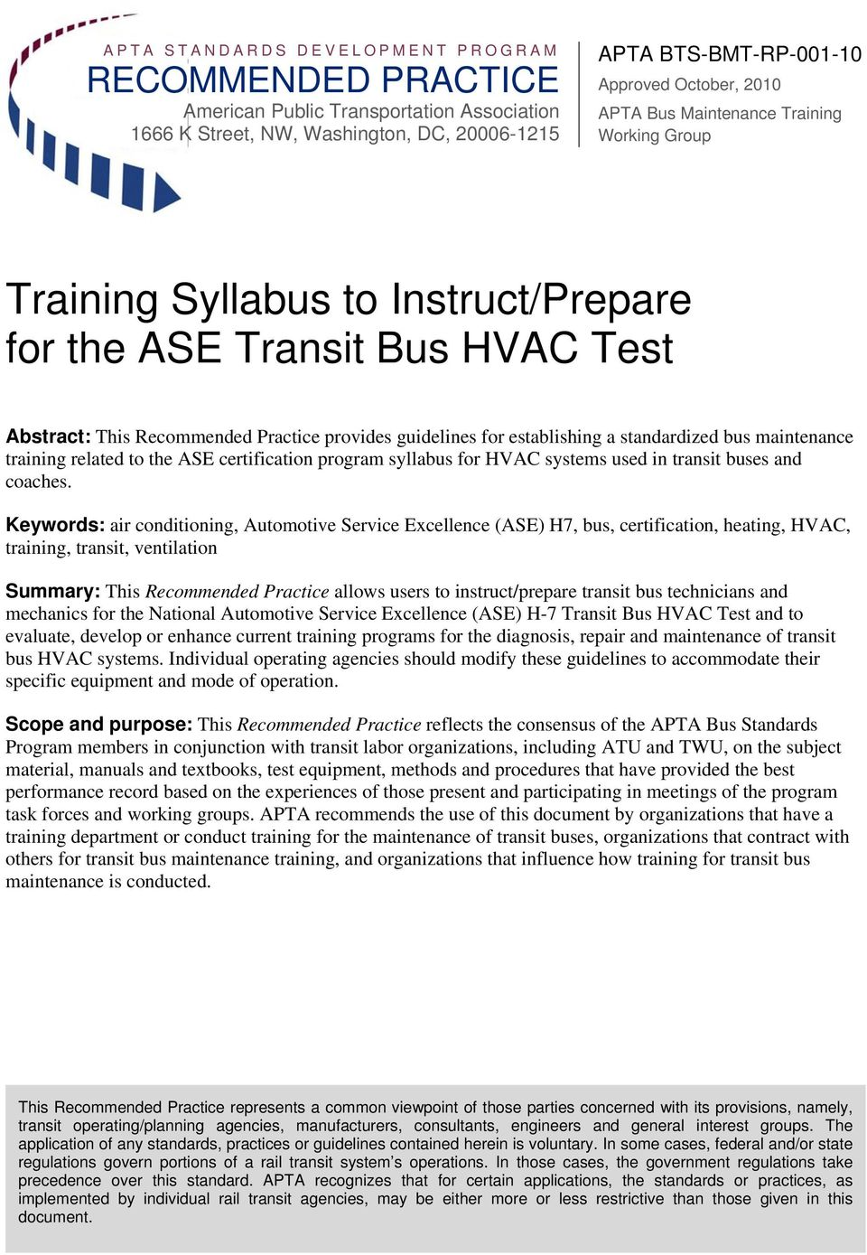 maintenance training related to the ASE certification program syllabus for HVAC systems used in transit buses and coaches.