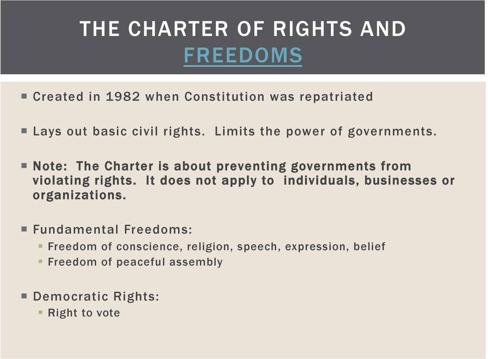 Note: The Charter is about preventing governments from violating rights.
