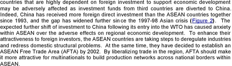 The expected further shift of investment to China following its entry into the WTO has caused anxiety within ASEAN over the adverse effects on regional economic development.