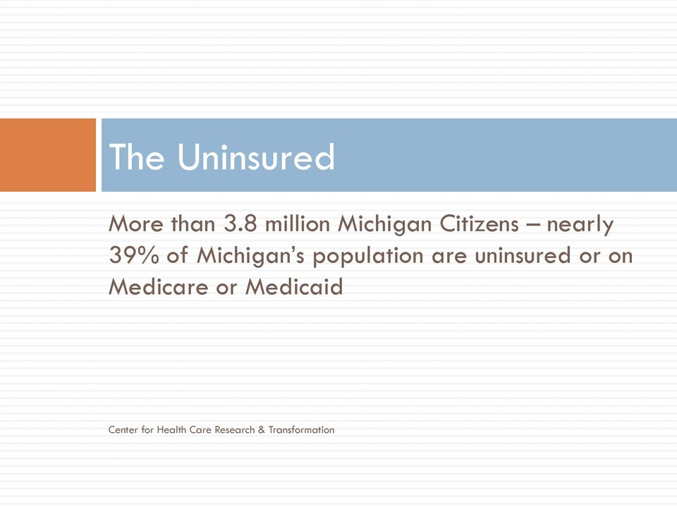 Michigan s population are uninsured or on
