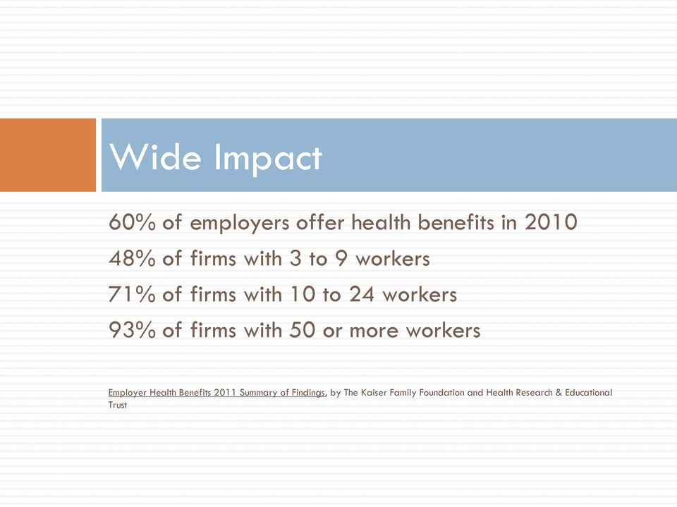 with 50 or more workers Employer Health Benefits 2011 Summary of