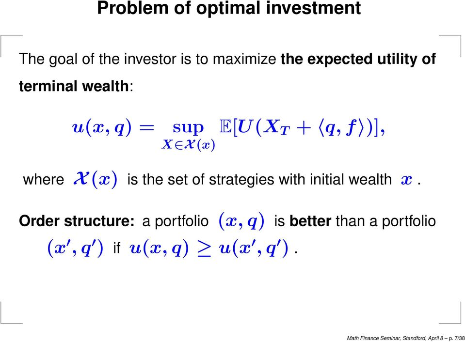 set of strategies with initial wealth x.