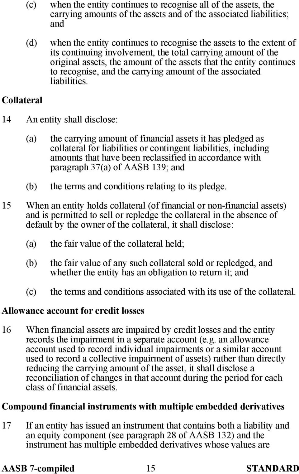 Collateral 14 An entity shall disclose: the carrying amount of financial assets it has pledged as collateral for liabilities or contingent liabilities, including amounts that have been reclassified