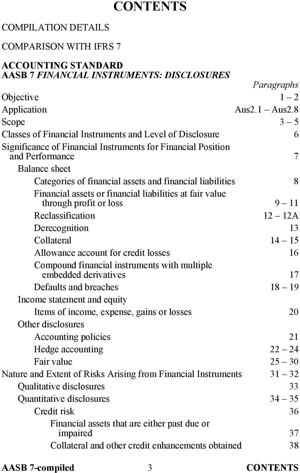 financial liabilities 8 Financial assets or financial liabilities at fair value through profit or loss 9 11 Reclassification 12 12A Derecognition 13 Collateral 14 15 Allowance account for credit