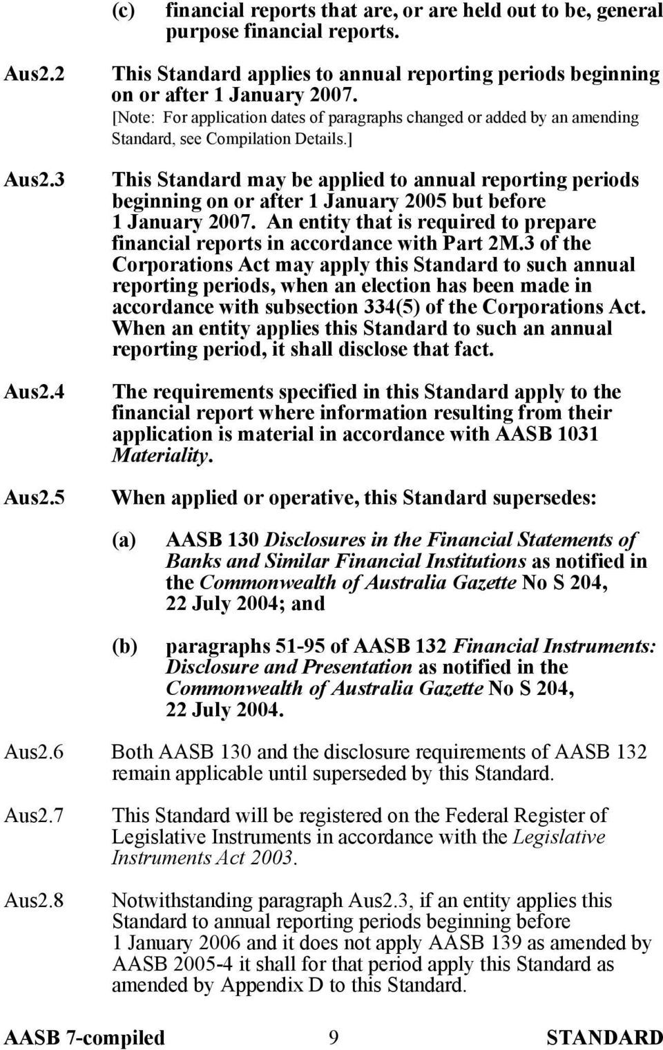 ] This Standard may be applied to annual reporting periods beginning on or after 1 January 2005 but before 1 January 2007.