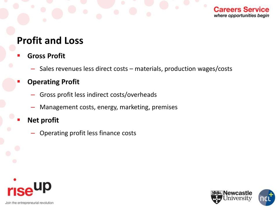 profit less indirect costs/overheads Management costs,