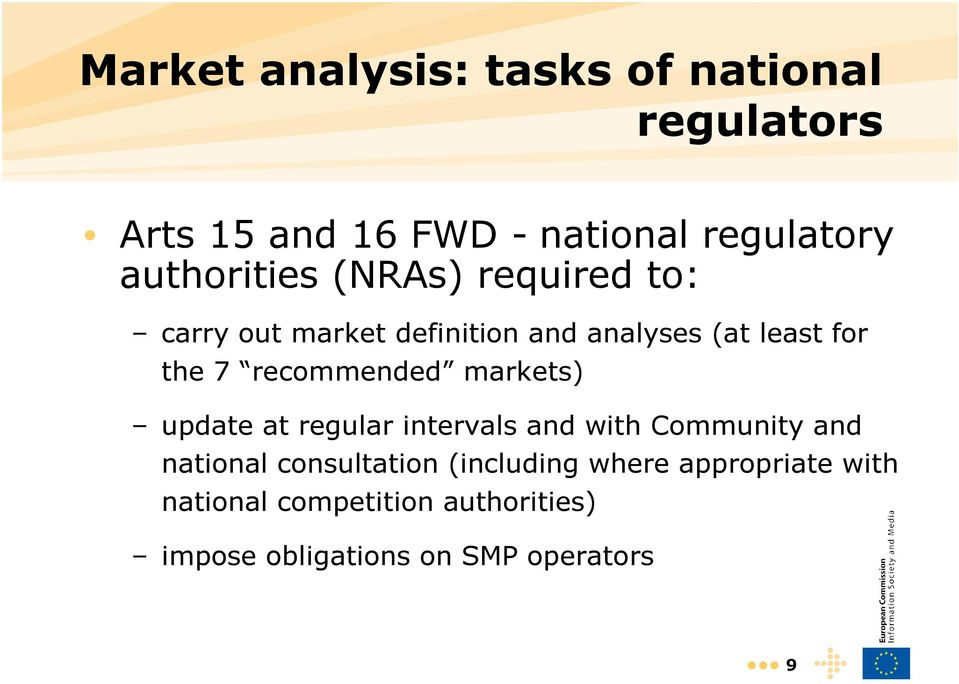 recommended markets) update at regular intervals and with Community and national consultation