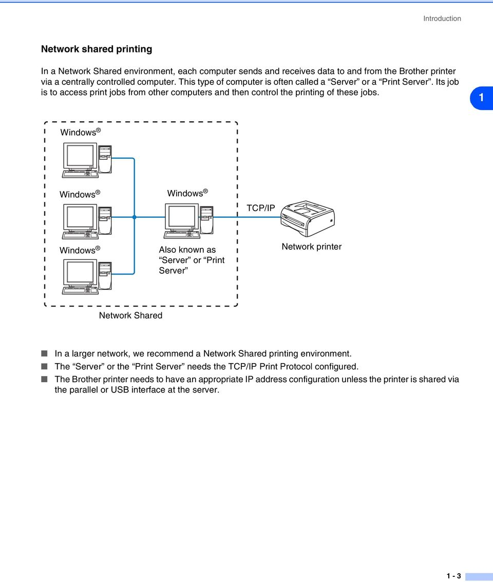 1 Windows Windows Windows TCP/IP Windows Also known as Server or Print Server Network printer Network Shared In a larger network, we recommend a Network Shared printing environment.