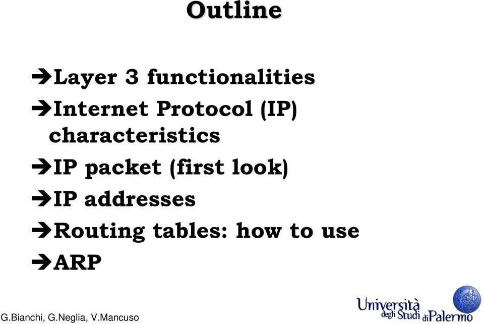 characteristics IP packet (first