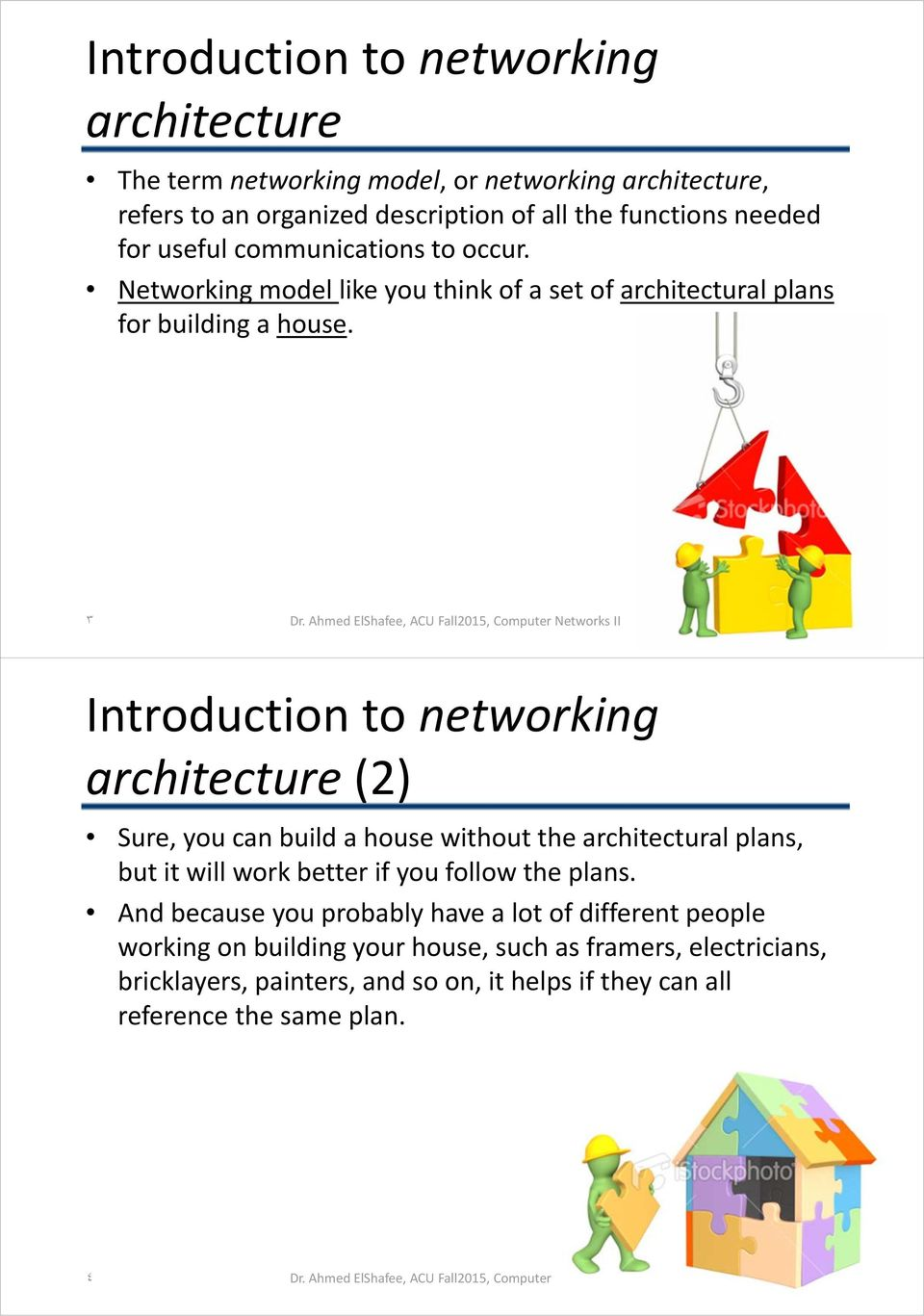 ٣ Introduction to networking architecture (2) Sure, you can build a house without the architectural plans, but it will work better if you follow the plans.