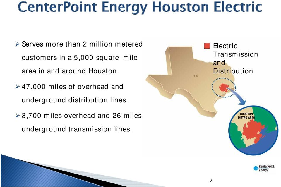 Electric Transmission and Distribution 47,000 miles of overhead