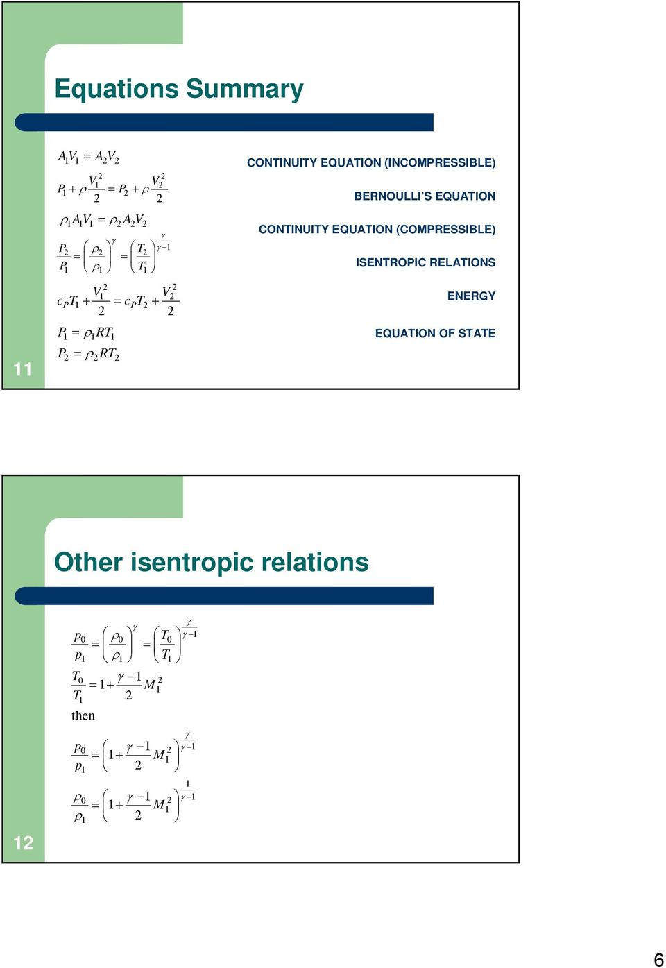 EQUATION CONTINUITY EQUATION (COMPRESSIBLE) ISENTROPIC RELATIONS ENERGY EQUATION OF STATE Other isentropic relations 12