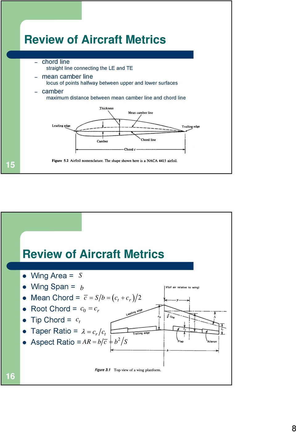 chord line 15 Review of Aircraft Metrics Wing Area = S Wing Span = b Mean Chord = c = S b = ct + c